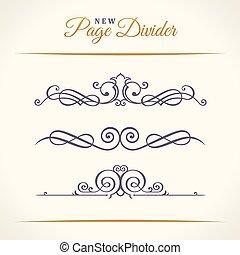 要素, 型, 仕切り, calligraphic, 装飾, 新しい, ページ