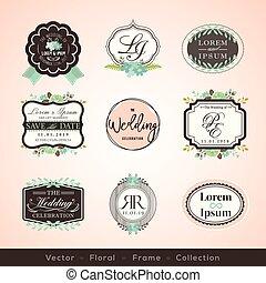 要素, 型, 結婚式, 挨拶, フレーム, デザイン, 招待, カード