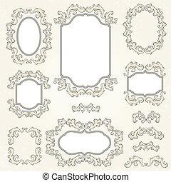 要素, 型, 装飾, frames., デザイン, ページ