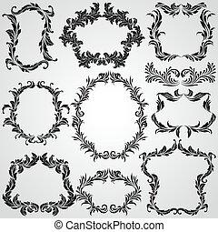 要素, 型, calligraphic, 装飾, デザイン, フレーム, ページ