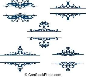 要素, 型, set., calligraphic, ベクトル, デザイン