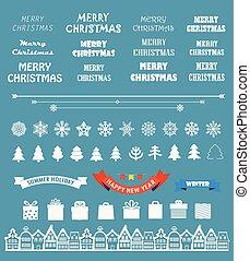 要素, 季節, 挨拶, ベクトル, collection., eleme, クリスマスカード