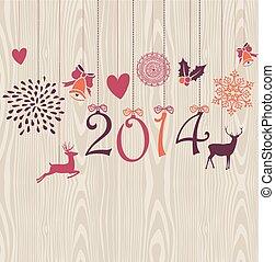 要素, 年, クリスマス, ベクトル, 陽気, 掛かること, 新しい, file., 幸せ
