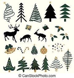 要素, 引かれる, クリスマス, ハンドセット
