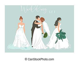 要素, 恋人, 抽象的, 青い背景, bridal, 隔離された, 結婚さし絵, セット, 女の子, 接吻, ベクトル, コレクション, 抱き合う, 漫画, 手, 引かれる