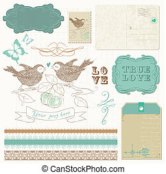 要素, 愛, -, デザイン, スクラップブック, 鳥
