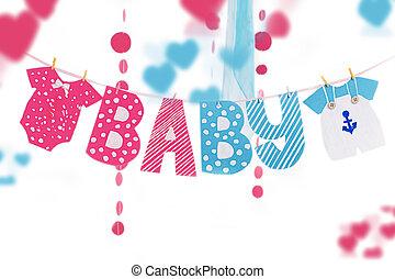 要素, 手紙, 花輪, シャワー, 布, 赤ん坊
