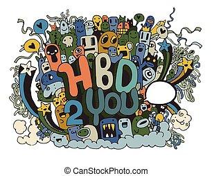 要素, 手, birthday, 背景, パーティー, 引かれる, doodles