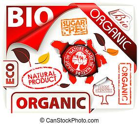 要素, 有機体である, eco, bio, セット, 赤