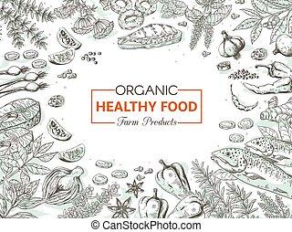 要素, 有機体である, sketch., 健康, メニュー, 野菜, 食品。, 食通, ベクトル, デザイン, 手, 型, 引かれる, スパイス, fish, 背景