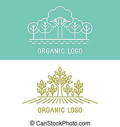 要素, 木, ベクトル, デザイン, 公園, ロゴ