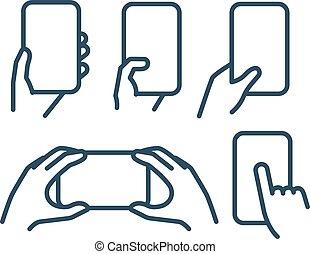 要素, 現代, コレクション, ベクトル, 保有物, lineart, smartphone.