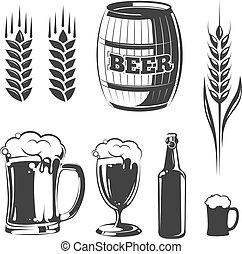 要素, 祝祭, 型, ラベル, ビール, 紋章, ベクトル