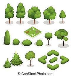 要素, 等大, 木, 風景, ベクトル, design.