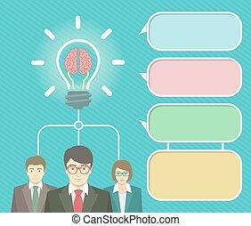 要素, 考え, ビジネス, infographics