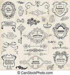 要素, 装飾, フレーム, コレクション, calligraphic, ベクトル, デザイン, 型, ページ, set:
