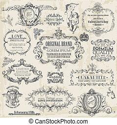 要素, 装飾, フレーム, コレクション, calligraphic, ベクトル, デザイン, 型, 花, ページ, set: