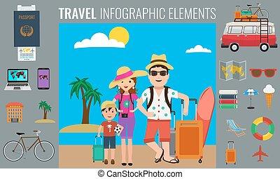 要素, 観光客, 家族, 旅行, traveling., infographics, 幸せ