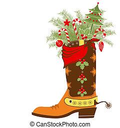 要素, 隔離された, クリスマス, ブーツ, カウボーイ, 白