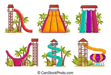 要素, 隔離された, activity., 夏, aquapark, 魅力, ベクトル, 楽しみ, リラックス, waterslides, セット, 白 水, 公園, チューブ, イラスト, 子供, カラードの背景