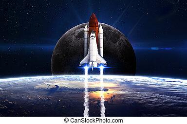 要素, 離れて, 供給される, これ, 取得, スペースシャトル, nasa, mission., イメージ