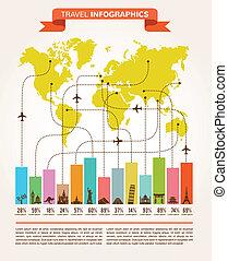 要素, 飛行, 旅行 アイコン, infographics, データ