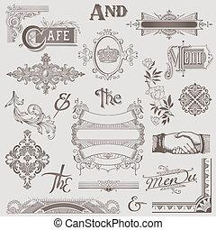 要素, -, 高く, ベクトル, デザイン, レトロ, 様々, 品質, set: