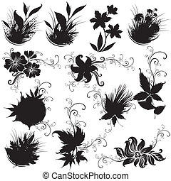 要素, 黒, 花, デザインを設定しなさい
