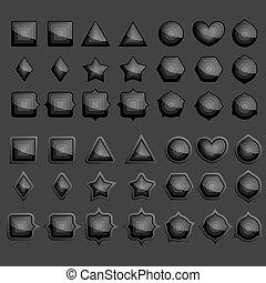 要素, 黒, 隔離された, セット, ベクトル, infographic, バックグラウンド。, illustration.