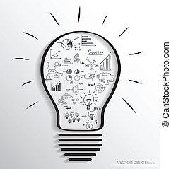 要素, illustration., ライト, graph., ベクトル, infographics, 電球