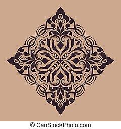 要素, indian, 抽象的, ベクトル, デザイン, アラベスク, mehndi, 花, style., element., illustration.