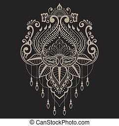 要素, indian, 抽象的, henna, ベクトル, デザイン, mehndi, 花, style., element., illustration.