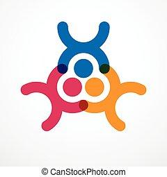 要素, logo., 友情, 協力, 合併した, ビジネスマン, ベクトル, チーム, 統一, カラフルである, クルー...