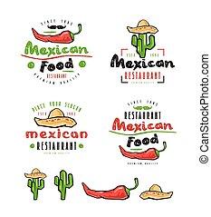 要素, mexican の食物, ラベル, デザイン, バッジ