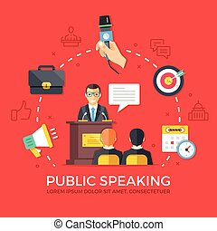 要素, speaking., 現代, 旗, デザイン, ウェブサイト, 網アイコン, set., quality., スピーチ, 平ら, 優れた, materials., イラスト, infographics, 印刷される, 線, conference., グラフィック, 公衆, ベクトル, 概念