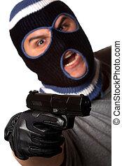 覆われた, 犯罪者, ポイント, a, 銃