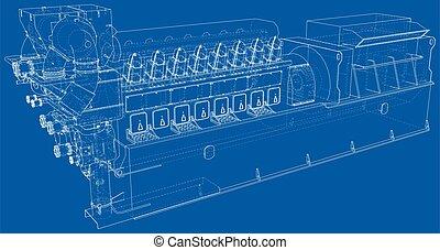 見えない, 層, 産業, 目に見える, ガス, ディーゼル, generator., ライン, separated., ...