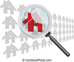 見つけること, 家, 拡大鏡