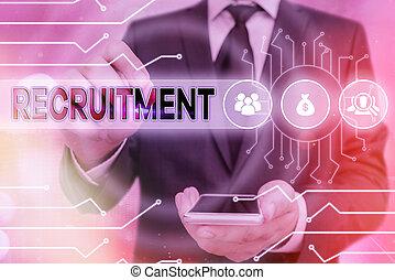 見つけること, 意味, recruitment., 概念, 道具, ∥あるいは∥, 新しい, 形状, 可能, 行動, 構成, 従業員, 参加しなさい, システム, 制御, 設定, ギヤ, 手書き, テキスト, 管理者, concept., サポート