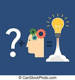 見つけること, 解決, 革新, concept., 平ら, design.