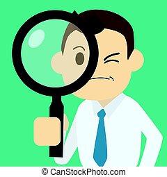 見つけること, magnifier, 仕事, ベクトル, ビジネスマン