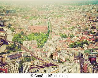 見なさい, ベルリン, 航空写真, レトロ, 光景