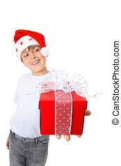 見なさい, 男の子, プレゼント, 横に