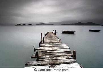 見ること, 荒れ果てている, 桟橋, ボート