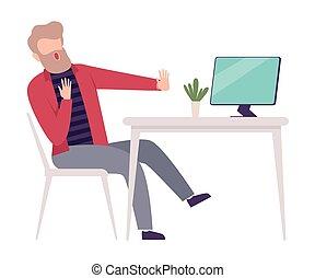 見る, おびえさせている, コンピュータ, 平ら, 机, スクリーン, モデル, イラスト, ビジネスマン, ベクトル