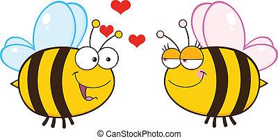 見る, かわいい, 女性, 蜂