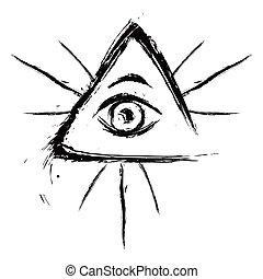 見る, すべて, 目