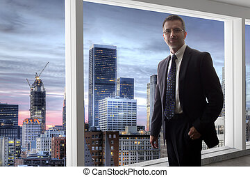 見る, アンジェルという名前の人たち, los, 窓, ビジネスマン, から