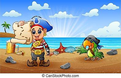 見る, オウム, 海賊地図, 漫画, 子供