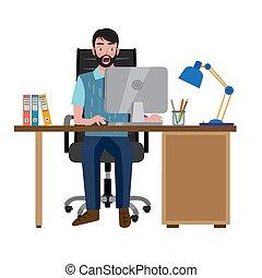 見る, オフィス椅子, 人間が座る, 驚いている, 机, コンピュータモニター